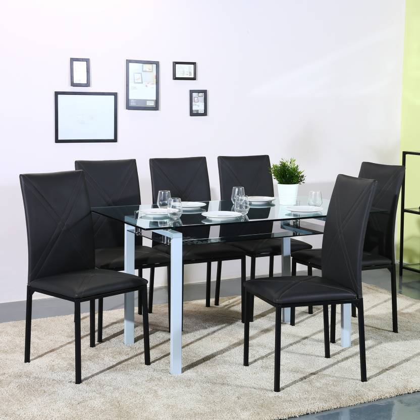 Perfect Homes Luzon Metal 6 Seater Dining Set  (Finish Color - Bl