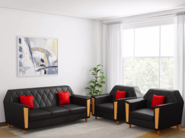 Selling: Kurlon Crescent Leatherette 3 + 1 + 1 Black Sofa Set
