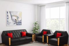 Selling: Kurlon Crescent Leatherette 3 + 1 + 1 Black Sofa Set