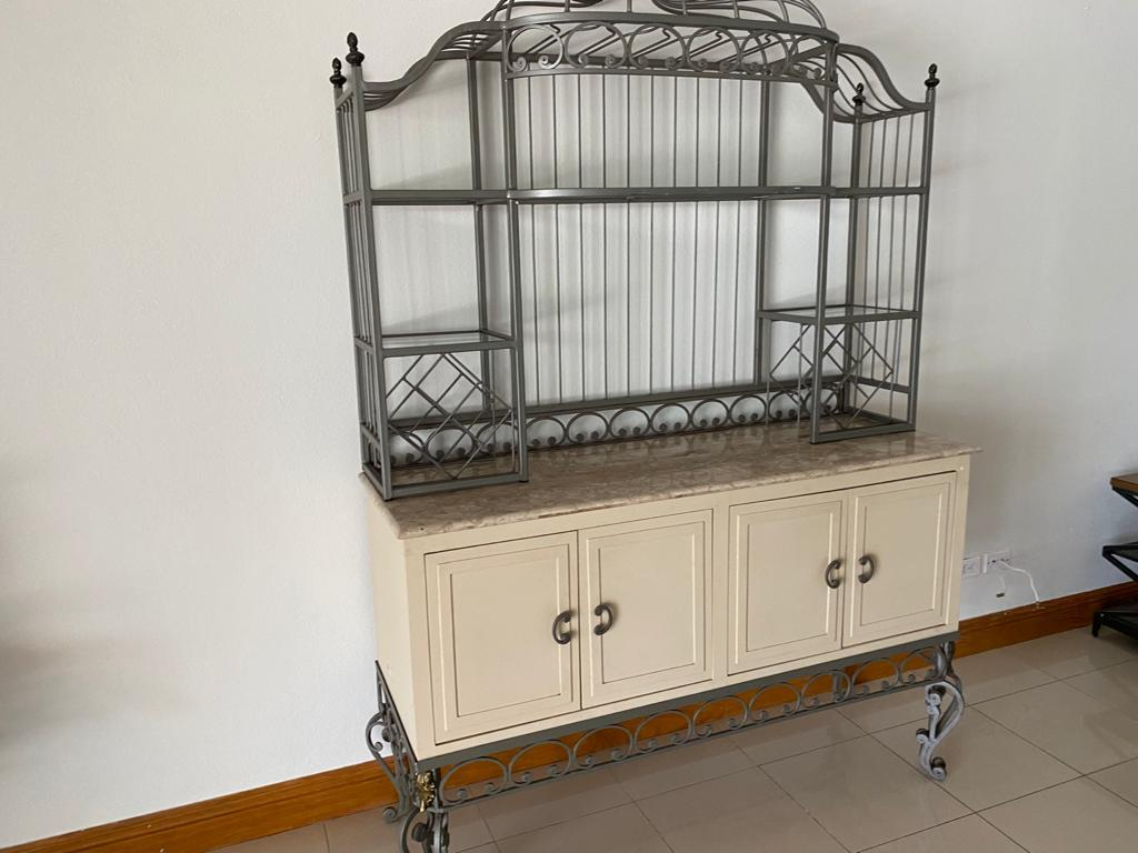 Cabinet w/Decorative Metal Shelving