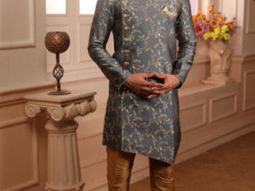 Selling: Jacquard Asymmetric Sherwani (Grey)