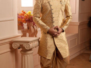 Selling: Woven Art Silk Jacquard Dhoti Sherwani in Golden