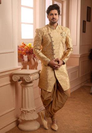 Woven Art Silk Jacquard Dhoti Sherwani in Golden