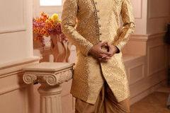 Selling: Woven Art Silk Jacquard Dhoti Sherwani in Golden