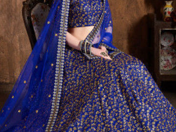 Selling: Embroidered Art Silk Lehenga in Royal Blue