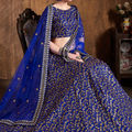 Embroidered Art Silk Lehenga in Royal Blue