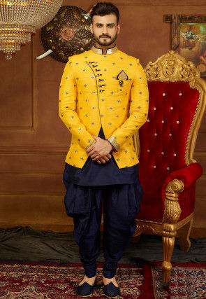 Embroidered Art Silk Jodhpuri Suit with Jacket in Navy Blue and Y