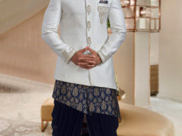 Selling: Hand Embroidered Art Jute Silk Jodhpuri Suit in Cream