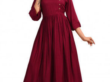 Selling: Solid Color Rayon Cotton A Line Kurta in Maroon