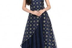 Selling: Foil Printed Organza A Line Kurta in Navy Blue