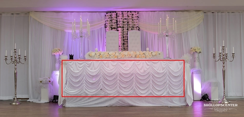 Universal bordspanel, båge, vit tyg upp till 5m
