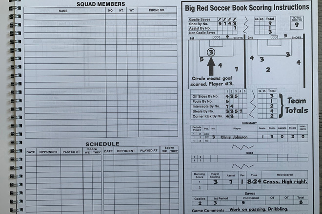 Soccer Score book & whistle