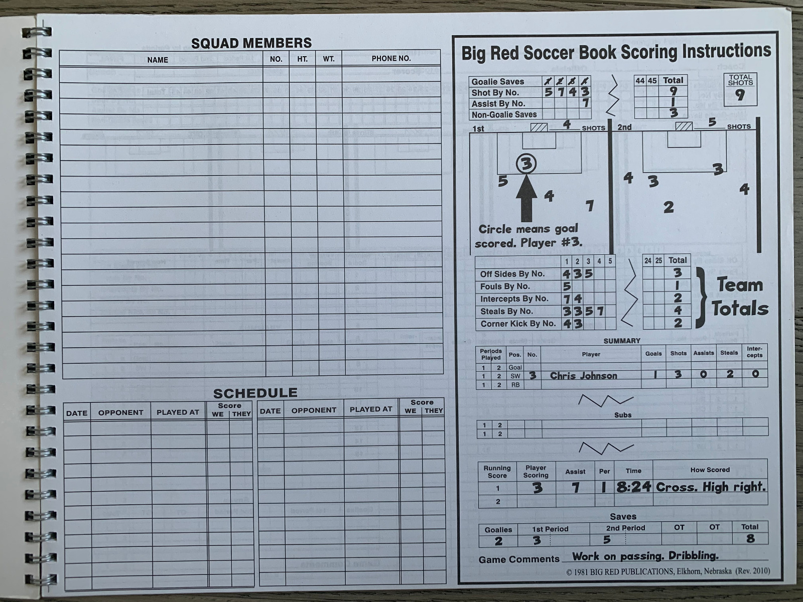 Soccer Score book & whistle