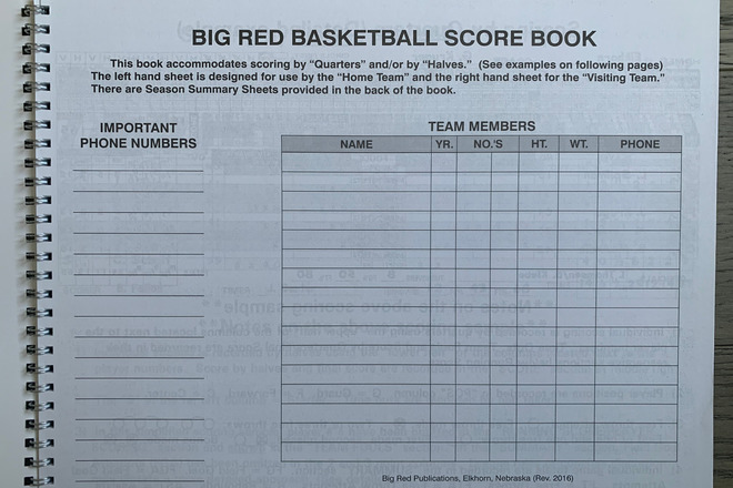 Basketball Score Book & Whistle