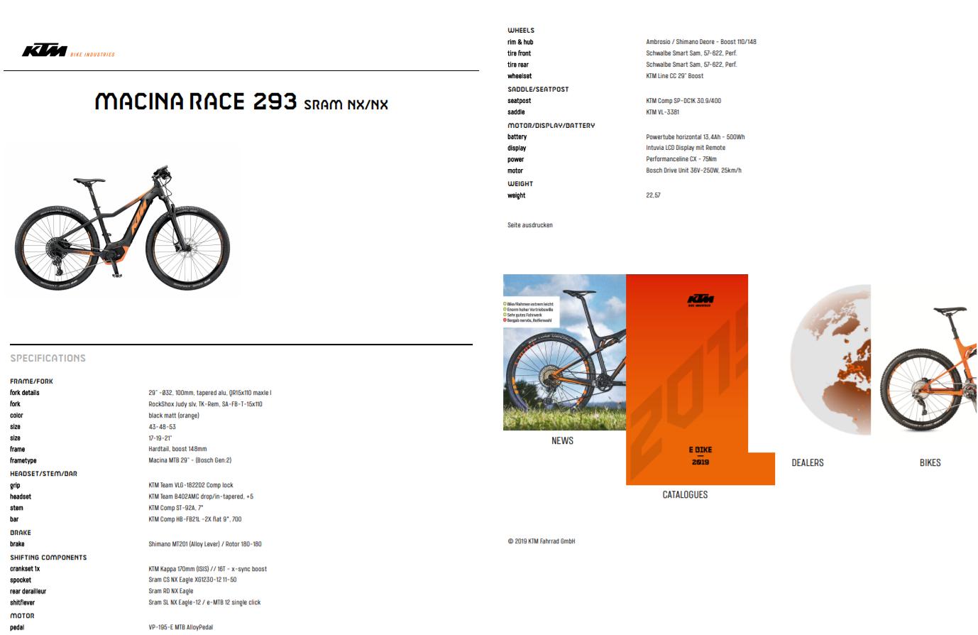 Noleggio bici MTB MACINA RACE 293 KTM - Lago di Garda