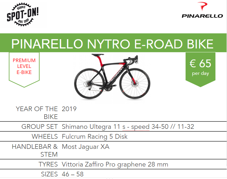 PINARELLO NYTRO E-ROAD BIKE - Noleggio eroad bike Bormio