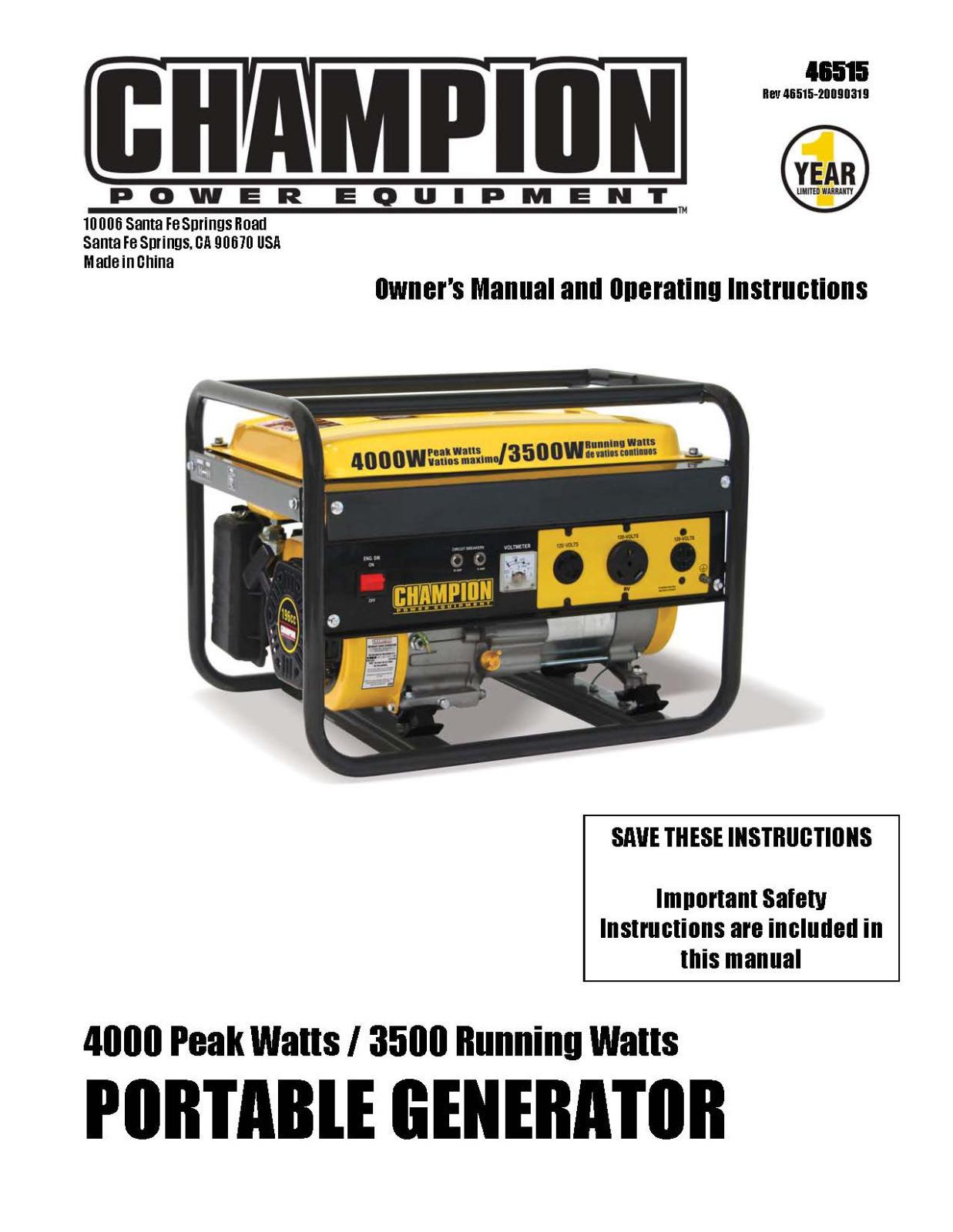4,000W Generator