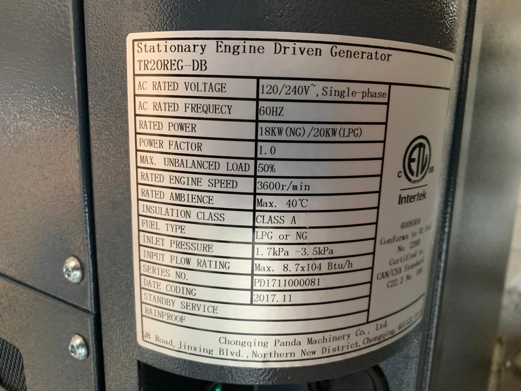 20 KW Trane Generator (LPG) & ATS (200 amp)