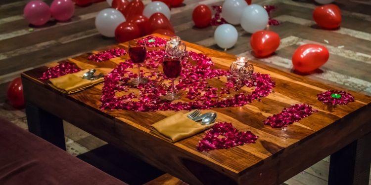 Romantic Rose petals and Candles Decorations