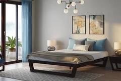Queen Bed with Mattress and Side Table