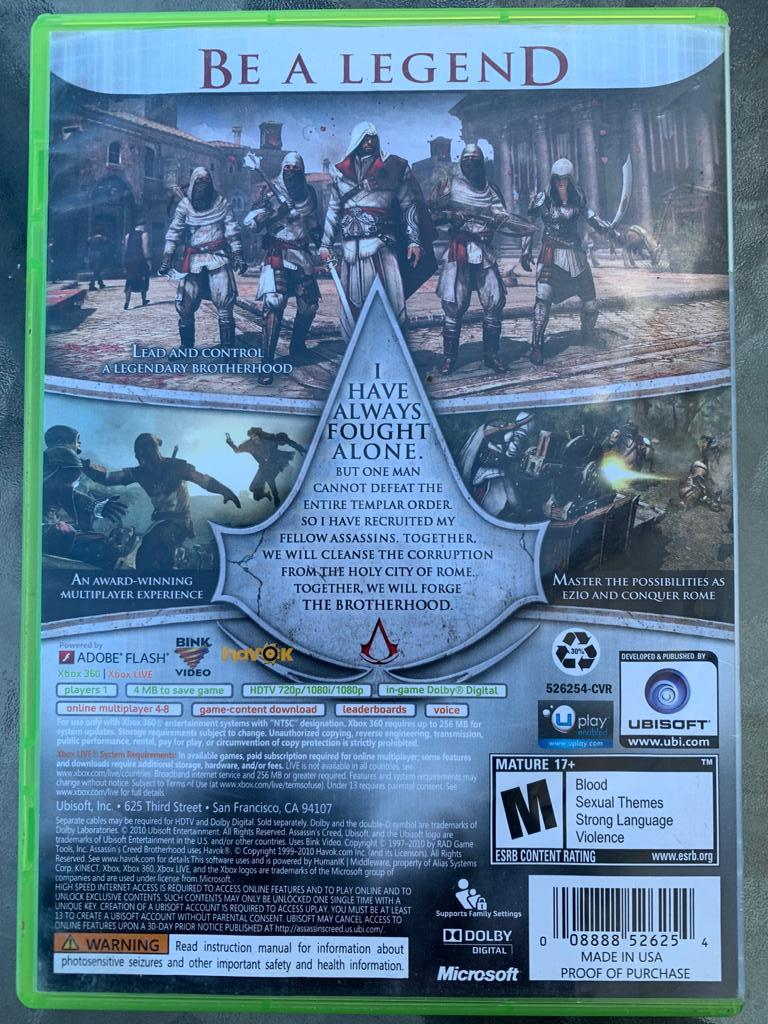 Assassin's Creed 'Brotherhood' for X-Box 360 (used)