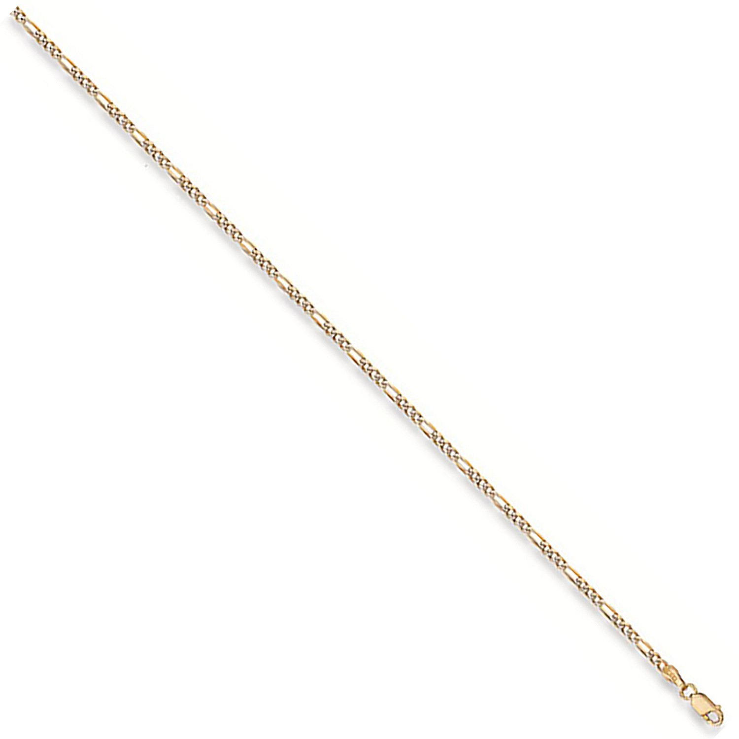 Y/G Rhodium Plated Figaro Anklet