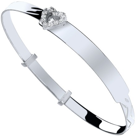 Selling: Silver Baby ID with Cz Heart Expandable Bangle