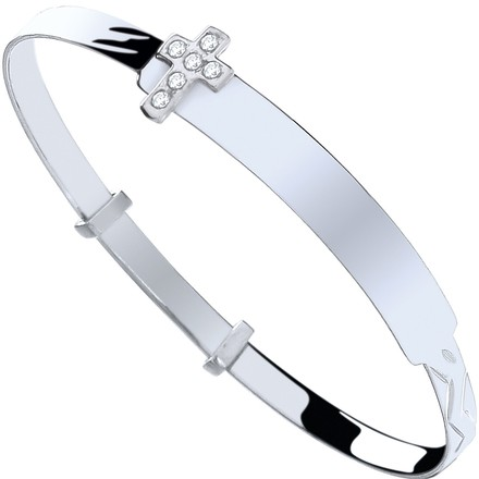 Selling: Silver Baby ID with Cz Cross Expandable Bangle