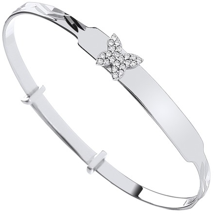 Selling: Silver CZ Butterfly Expandable ID Baby Bangle