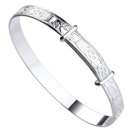 Selling: Silver Celtic Claddagh Expandable Baby Bangle