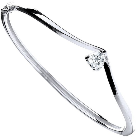 Selling: Silver Fancy Heart Cz Bangle