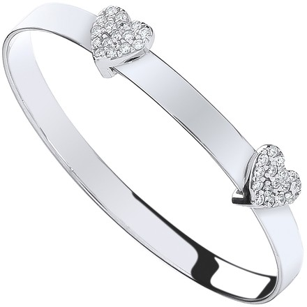 Selling: Silver Cz Heart Baby Expandable Bangle