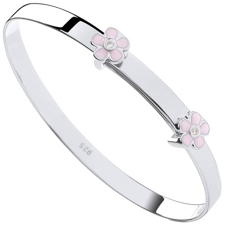 Selling: Silver Pink Enamel & CZ Flowers Expandable Baby Bangle