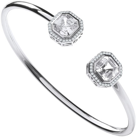 Selling: Silver Octagon CZ Torque Hollow Bangle