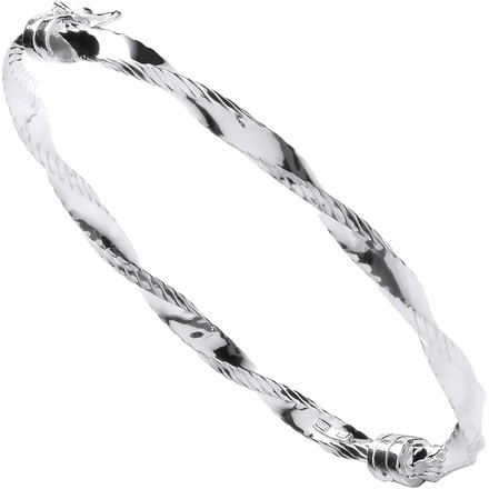 Selling: Silver Twisted Ribbed Edge Hollow Bangle