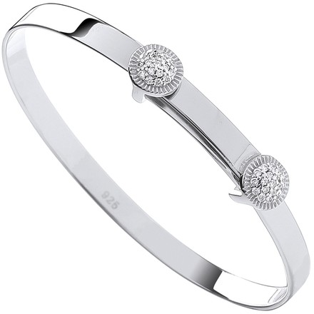 Selling: Silver Expandable CZ Round Studs Baby Bangle