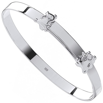Selling: Silver Expandable Teddy Bears Baby Bangle