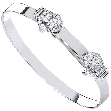 Selling: Silver Expandable Boxing CZ Gloves Baby Bangle