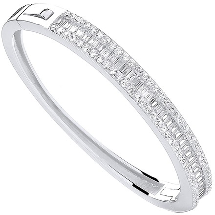 Selling: Silver 3 Row Cz Baguette Centre Baby Bangle
