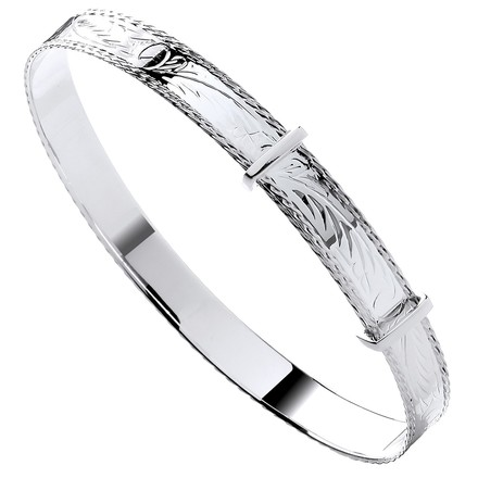 Silver 7mm Expandable Diamond Cut Bangle