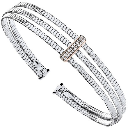 Selling: Silver 3 Rib Wires with Cz Plate Ladies Bangle