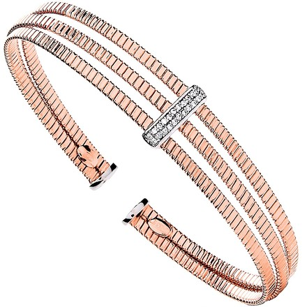 Selling: Silver Rose Coated 3 Rib Wires with Cz Plate Ladies Bangle