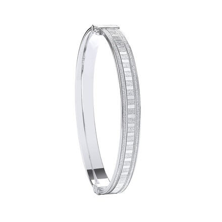 Selling: Silver Moondust Stone Illusion Effect Hinged Bangle
