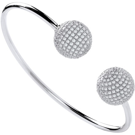 Selling: Silver Cz Balls Ladies Bangle