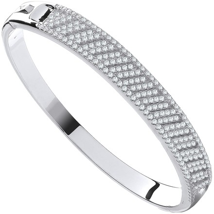 Silver Cross Lines CZ Ladies Bangle