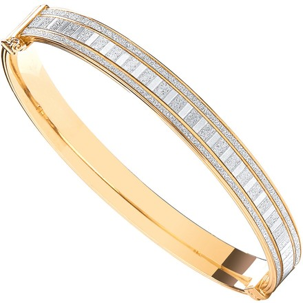Selling: Silver Yellow Moondust Stone Illusion Effect Hinged Bangle