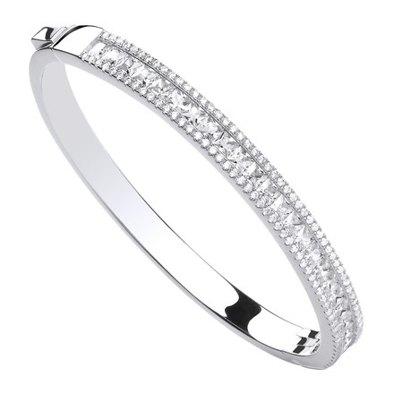 Selling: Silver Hindged Princess Cut & Round CZs Bangle
