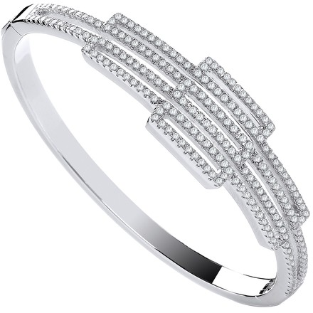 Silver Cz Rectangles Fancy Ladies Bangle