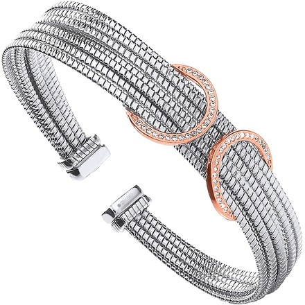 Selling: Silver with Rose Coated Cz Circles Ladies Bangle