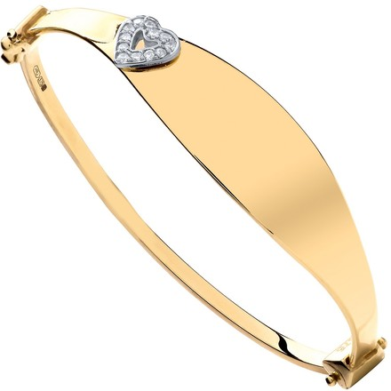 Selling: Y/G Oval ID with Cz Heart Baby Bangle